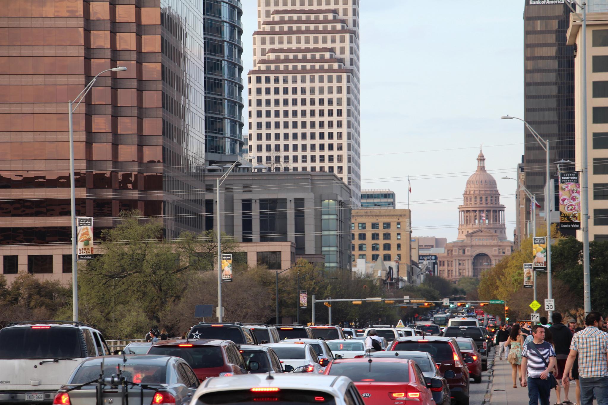 Traffic along Congress Avenue in Austin Texas.