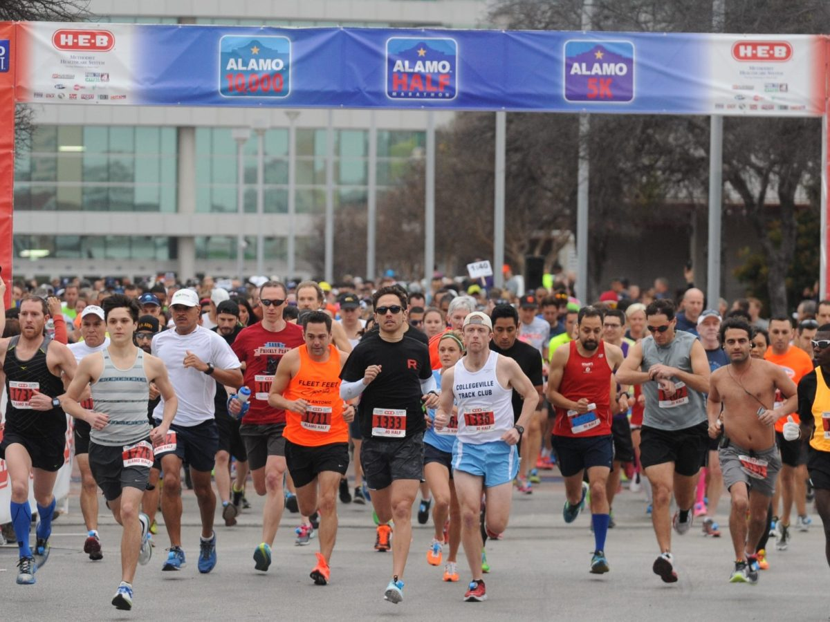 Runners take off from the Alamodome at the 2015 H-E-B Alamo Run Fest.