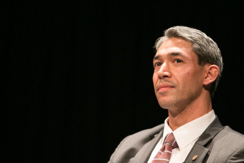 Councilman Ron Nirenberg pauses during the San Antonio Mayoral Debate on March 2.