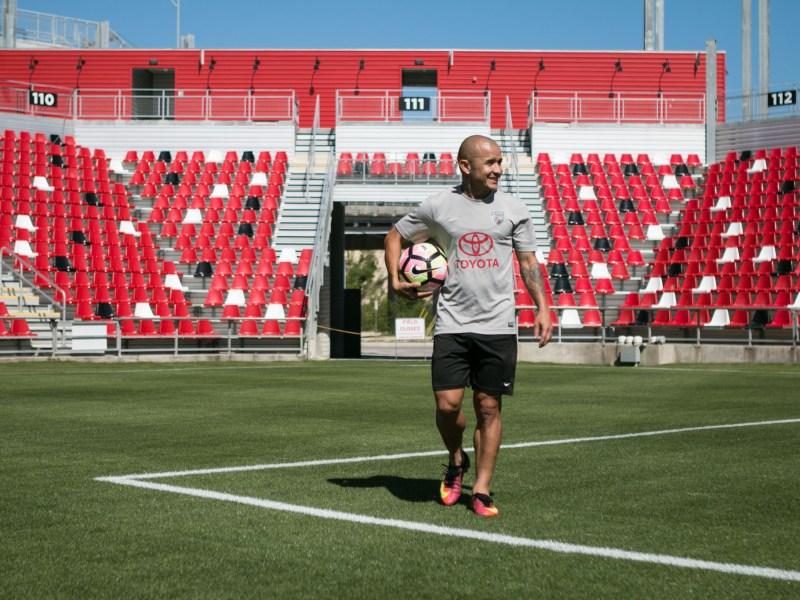 San Antonio FC midfielder Rafa Castillo walks through Toyota Field.