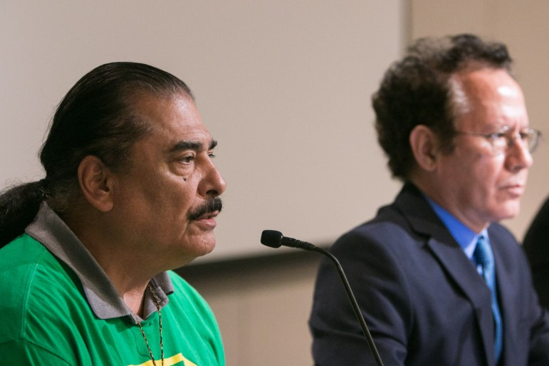 Mayoral candidates from left, Antonio Diaz and Dr. John Velosquez answer questions at the Mayoral Arts Forum in the San Antonio Central Library auditorium.