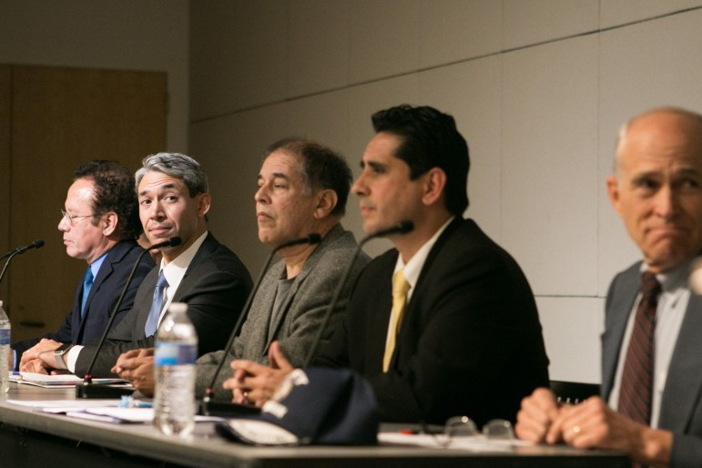 Mayoral candidates from left, Dr. John Velosquez, Councilman Ron Nirenberg (D8), Gerard Ponce, Manuel Medina, and Rhett Smith listen to the auditor at the Mayoral Arts Forum in the San Antonio Central Library auditorium.