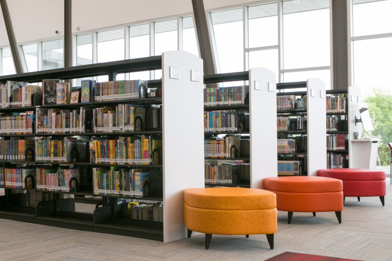 The Schaefer Branch Library holds many books and colorful reading places.