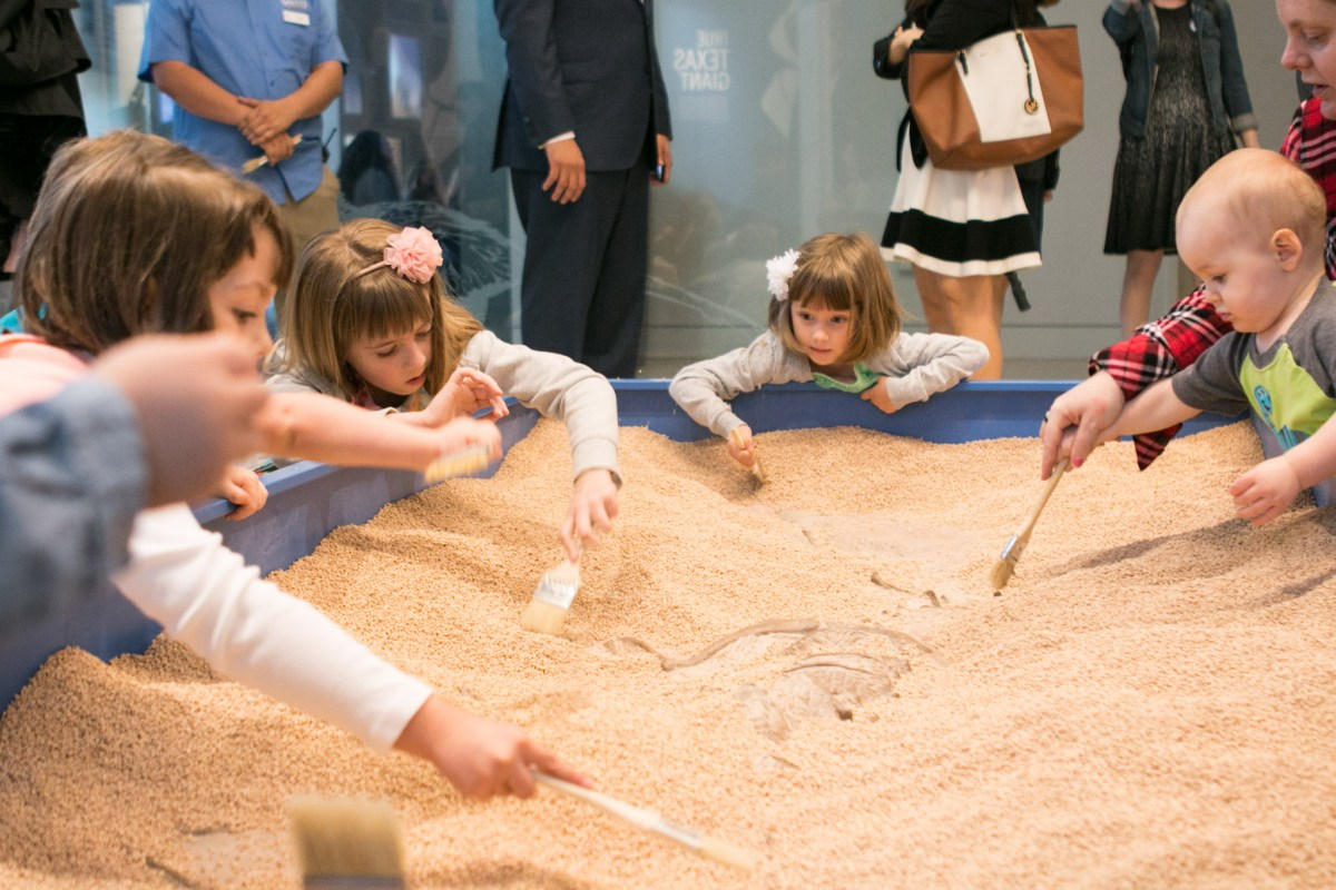 Children use brushes to uncover a dinosaur bone exhibit in a sand pit at the grand debut of the New Witte on March 4.