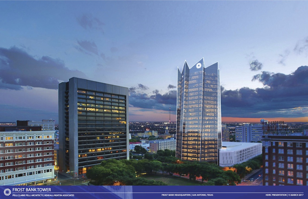 The 23-story Frost Bank Tower was designed to capitalize on the San Pedro Creek Improvement Project and enhance neighborhood pathways.