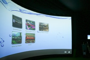 A variety of games are available in the golf simulator at San Pedro Driving Range & Par 3 Golf Course.