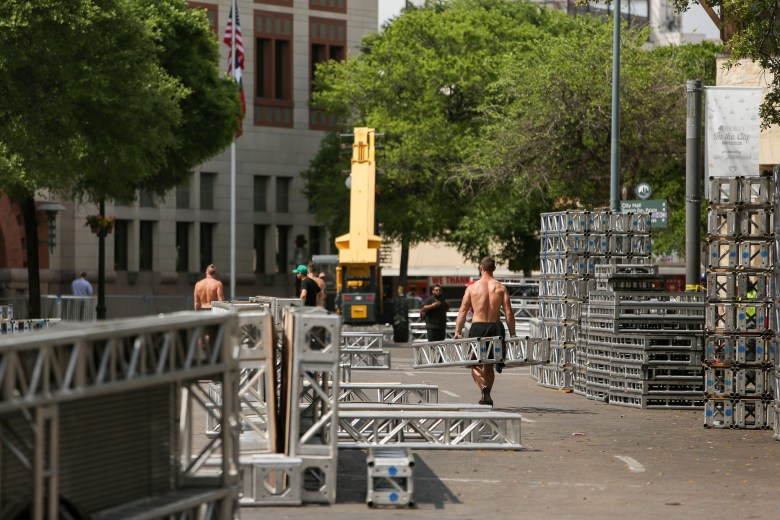 Film crews assemble the American Ninja Warrior stage along Dolorosa Street in between Main Plaza and the Bexar County Courthouse.