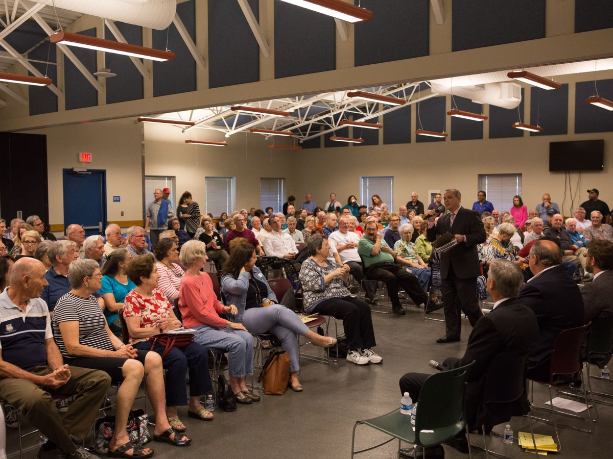 Community members filled the Tool Yard during the District 10 candidate forum.