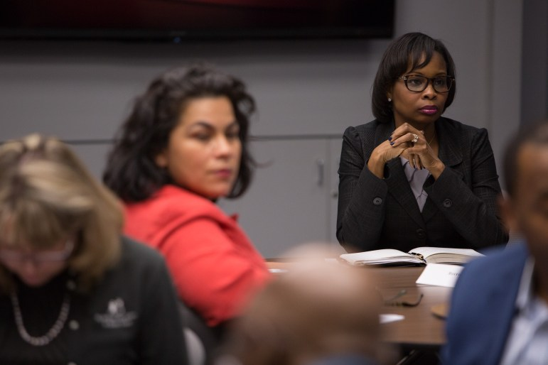 Mayor Ivy Taylor (right) and Councilwoman Rebecca Viagran listen members of the Council on Police-Community Relations Monday night.