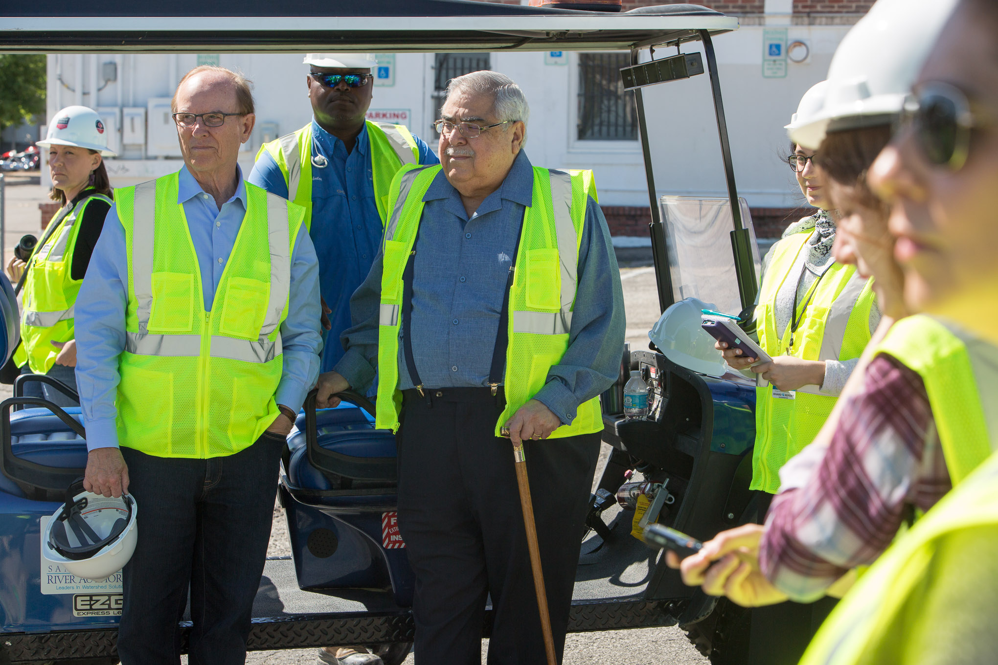 Bexar County Judge Nelson Wolff and County Commissioner Paul Elizondo (Pct.2) prepare for a tour of San Pedro Creek during phase one of construction.