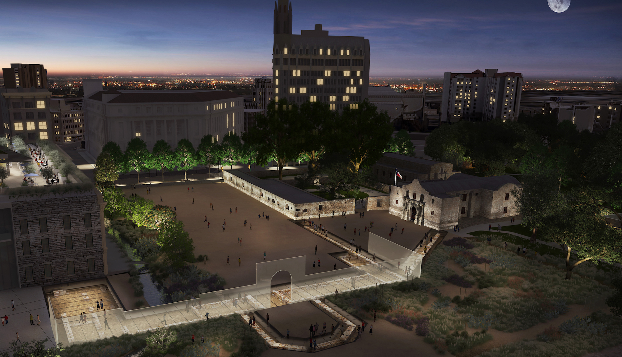 This rendering shows Alamo Plaza (looking northeast from above) at dusk.