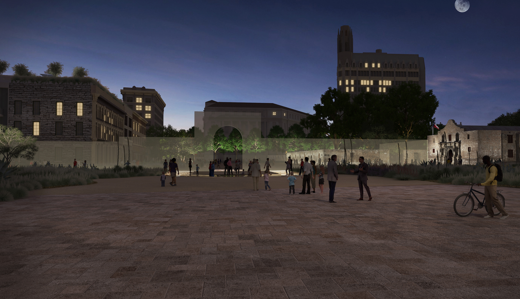 This rendering shows the pedestrian plaza that South Alamo Street (looking north) could become.