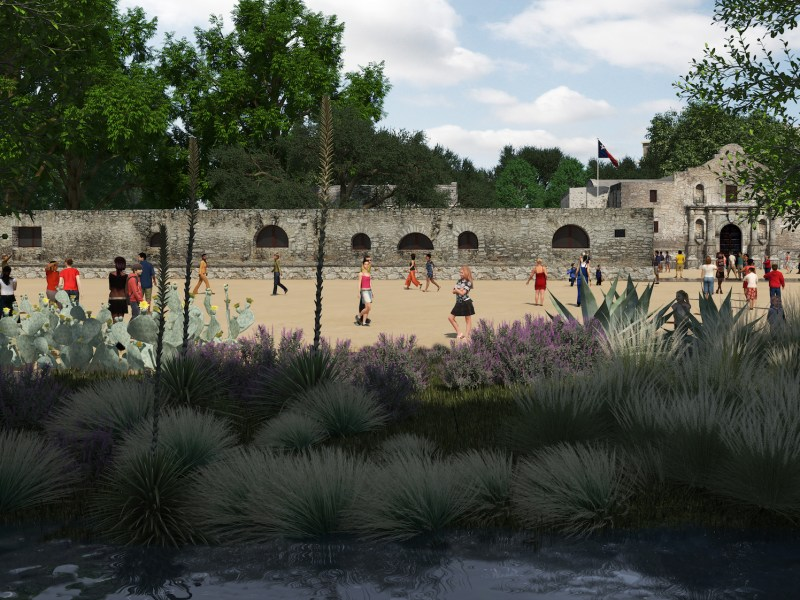 This rendering shows what South Alamo Street could become: a pedestrian plaza and space for vegetation and shade.