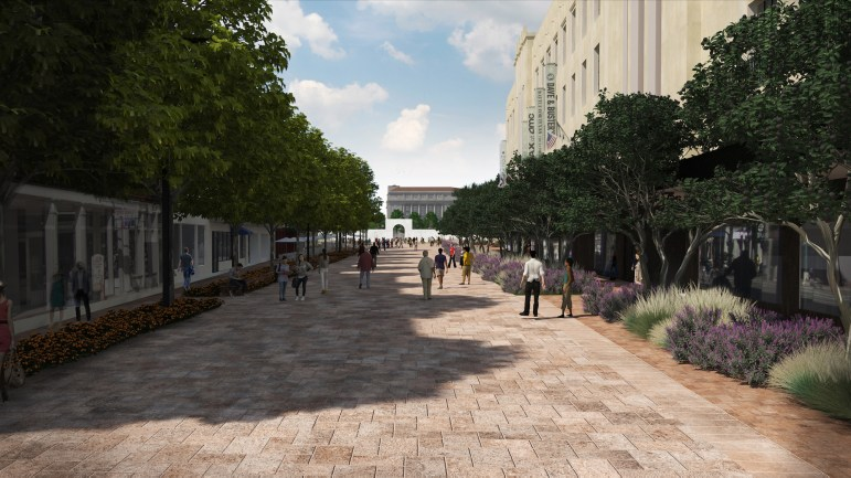 The South Alamo Street promenade would mean closing down the street to allow for pedestrian and very limited commercial vehicle access for vehicles.
