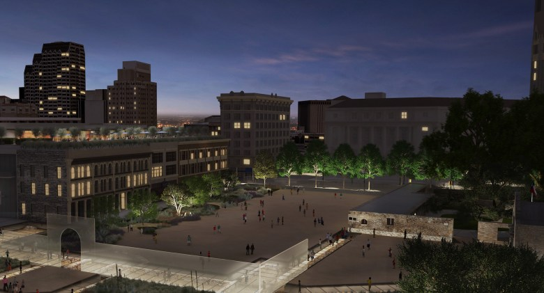 This rendering shows the Alamo Plaza Master Plan's vision for the space (looking northwest).