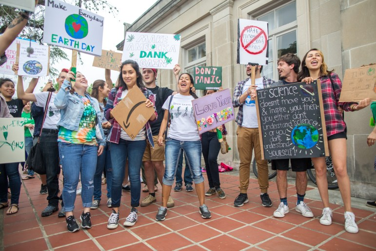 Students protest in front of the San Pedro Park Playhouse
