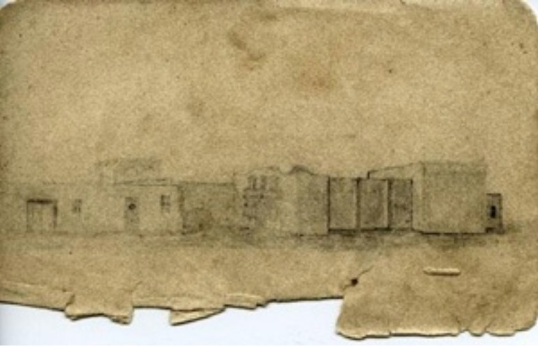 The 1837 drawing by George Fulton,a young schoolteacherfrom Indiana who joined the Army of the Republic of Texas for six months as a second lieutenant, shows the main gate on the left with another door and two windows.