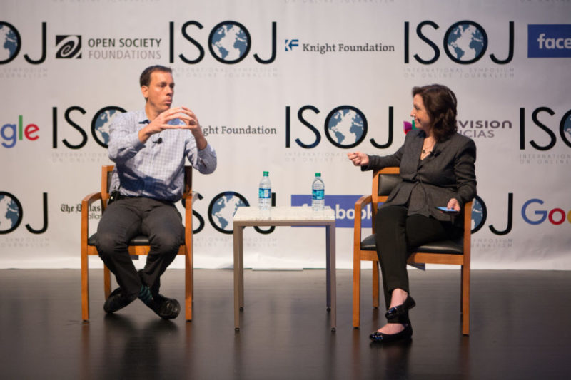 Axios and POLITICO co-founder Jim VandeHei speaks with Moderator and vice president of journalism at the Knight Foundation Jennifer Preston at the International Symposium on Online Journalism.