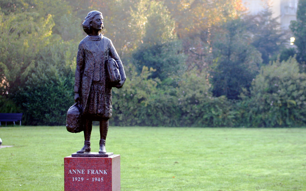 A statue honoring the life of Anne Frank in Watergraafsmeer Amsterdam.