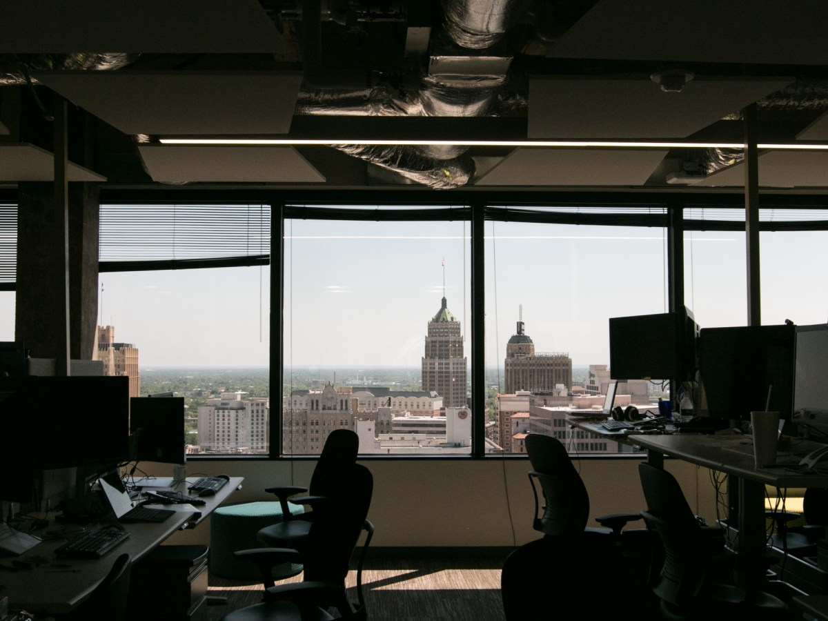 A view of San Antonio can be seen from the 19th floor of the USAA building downtown.