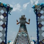 Princess of the Splendor of the Rio de la Plata Frances Carolina Roberts waves to the crowd at the Battle of Flowers Parade.