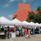 Vendor tents are lined up outside of the San Antonio Public Library for the San Antonio Book Festival.