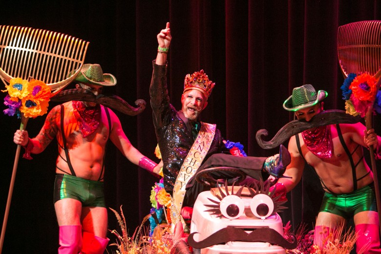 King Anchovy LII makes a grand entrance in Cornyation at Charline McCombs Empire Theatre during Fiesta.
