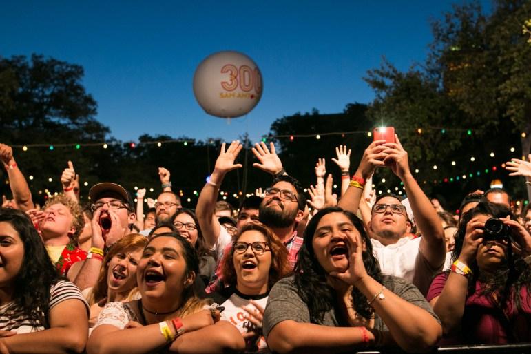A large crowd cheers on De La Soul at Maverick Music Festival.