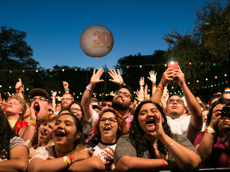 A large crowd cheers on De La Soul at Maverick Music Festival.