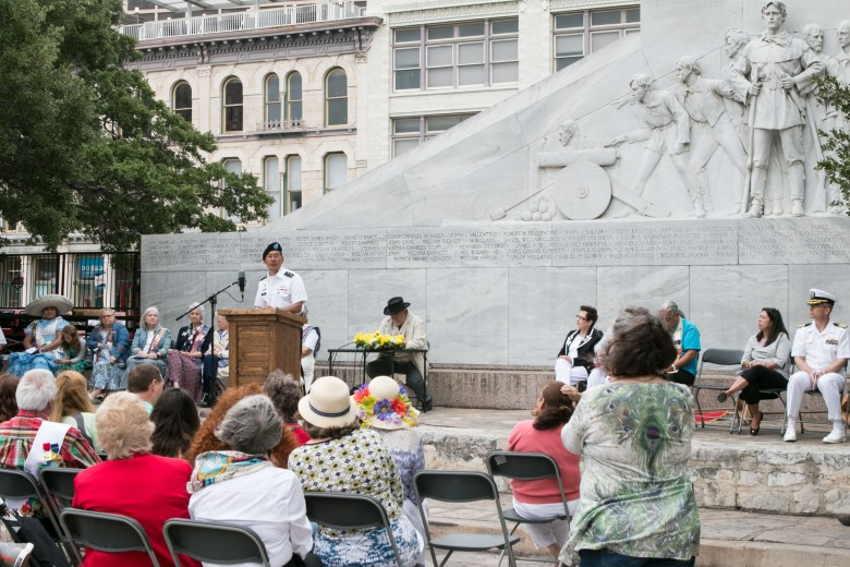 Commanding General of US Army South Major General K. K. Chinn speaks to the crowd during the San Jacinto Victory Celebration in Alamo Plaza.
