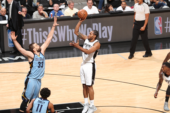 Kawhi Leonard #2 of the San Antonio Spurs shoots the ball during a game against the Memphis Grizzlies during Game Two of the Western Conference Quarterfinals of the 2017 NBA Playoffs on April 17, 2017.