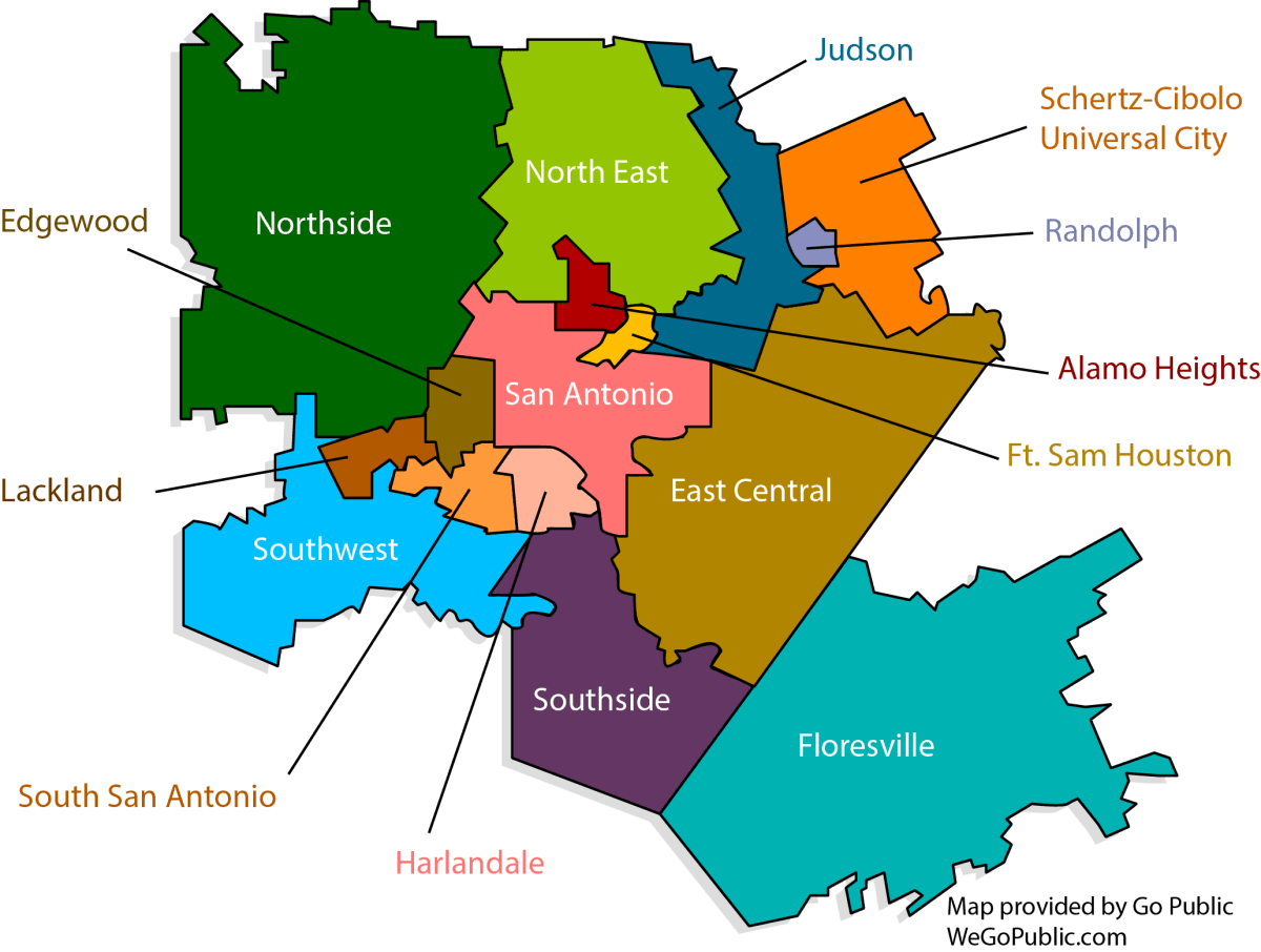 Sixteen individual school districts reside in Bexar County.