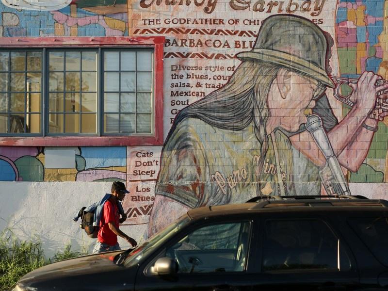 A mural by Manuel Diosdado Castillo Jr. near the Commerce Street bridge.