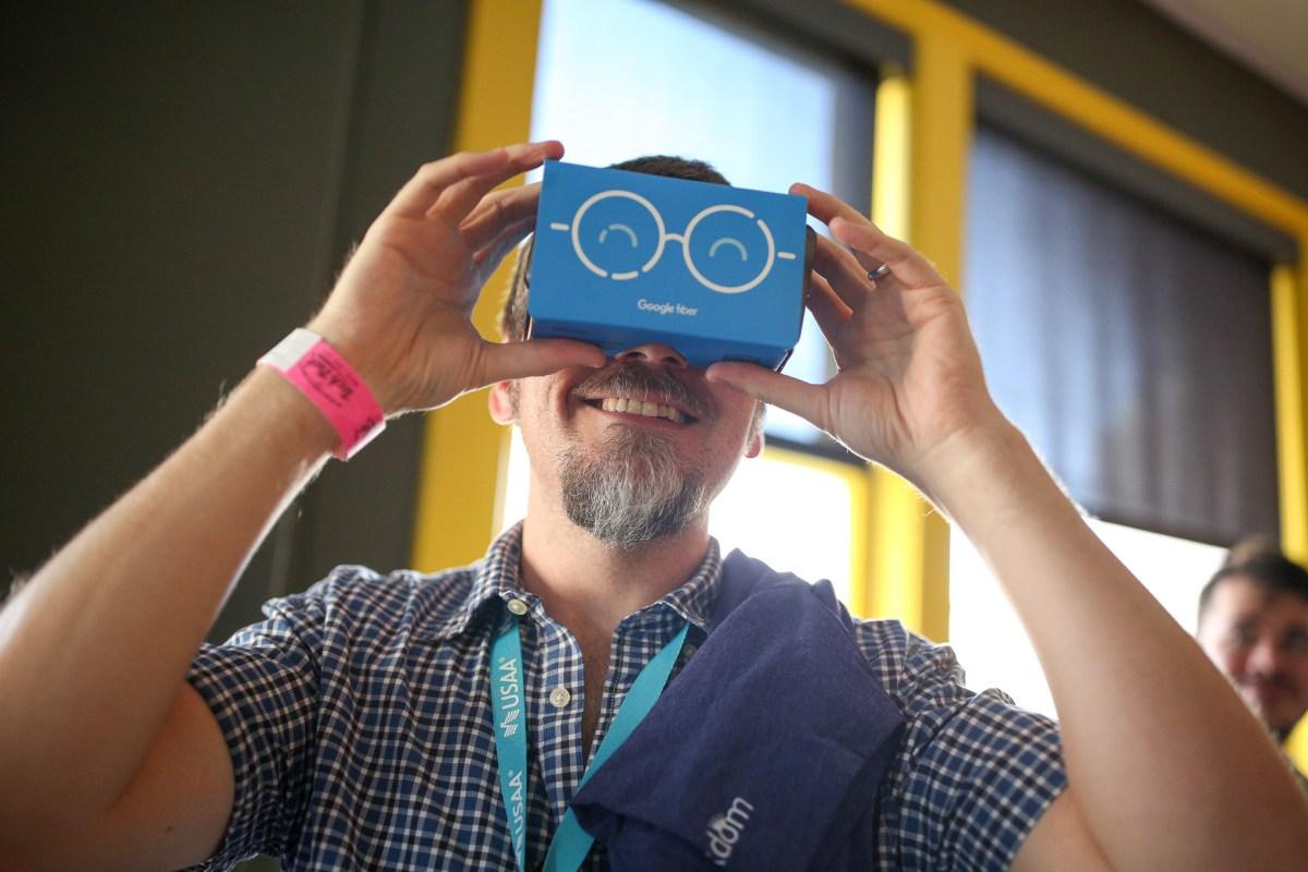 SA Tech Trek attendee Richard Diepenbrock tries out Google glasses.