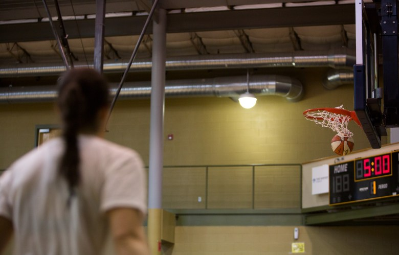 Kelsey Plum works around the perimeter as she shoots three pointers during a San Antonio Stars practice.