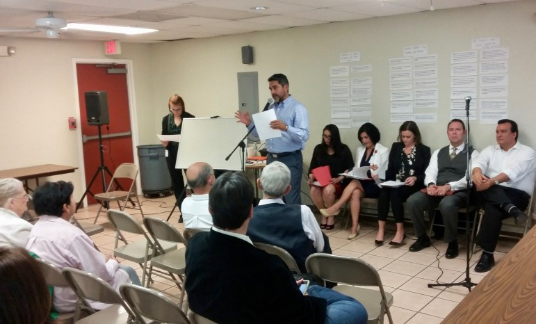 Councilman Roberto Treviño (D1) opens a community meeting about the Tobin Hill North Historic District proposal at Our Lady of Sorrows Catholic Church on Tuesday, April 4, 2017. Photo by Edmond Ortiz