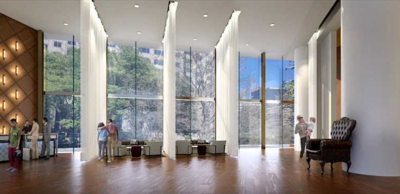 Preliminary renderings for a proposed Seaside Hospitality Corporation show the lobby area with floor-to-ceiling windows.