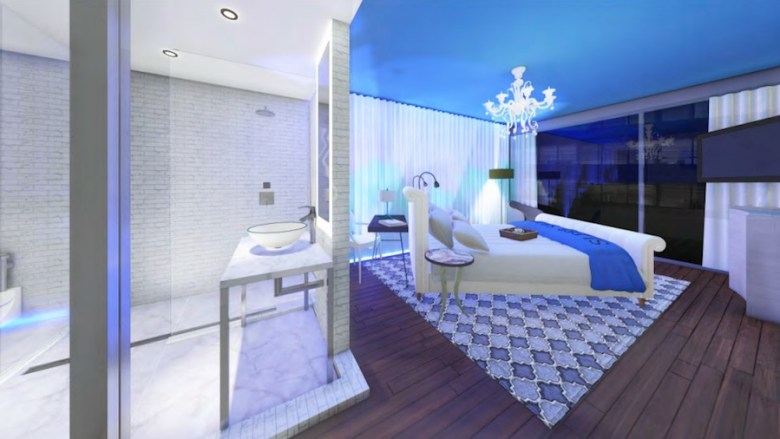 Preliminary renderings for a proposed Seaside Hospitality Corporation hotel show chandeliers in the rooms.