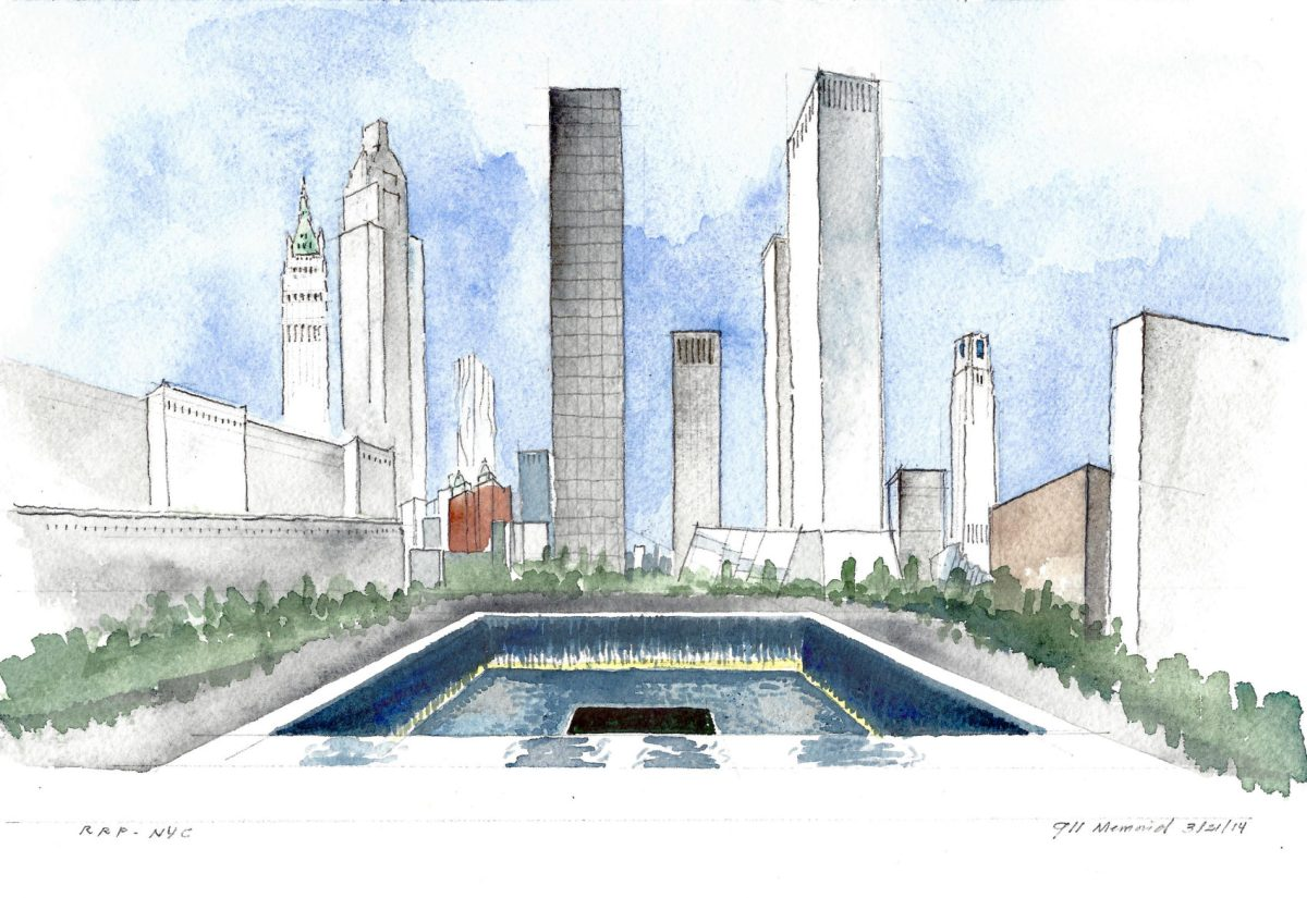 This watercolor of the 9/11 Memorial was sketched by Roy Pachecano in 2014.