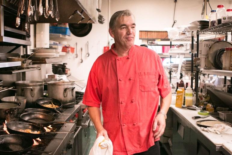 Damien Watel cooks in the kitchen of Bistro Vatel.