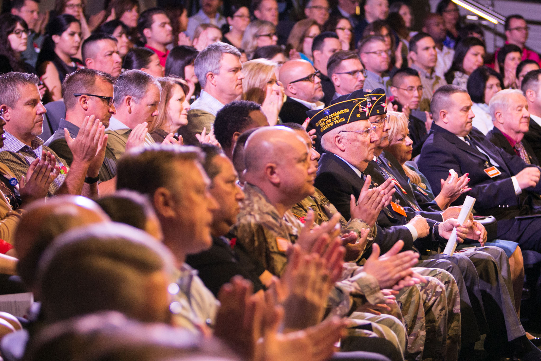 Active military and veterans attend USAA's Memorial Day Ceremony.