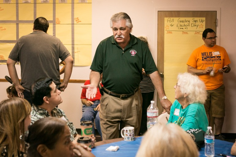 Councilman Ray Lopez (D6) speaks to a group to endorse Melissa Cabello Havrda's campaign at her campaign headquarters.