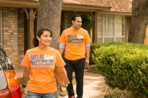 (From left) City Council District 6 candidate Melissa Cabello Havrda and Former Mayor and HUD Secretary Julián Castro block walk to spread the word for Cabello Havrda's campaign.