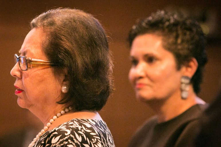 Former Texas Secretary of State and current VIA Metropolitan Transit board Chair Hope Andrade (left) and Local restaurateur Lisa Wong ask City Council to vote in favor of their river barge bid.
