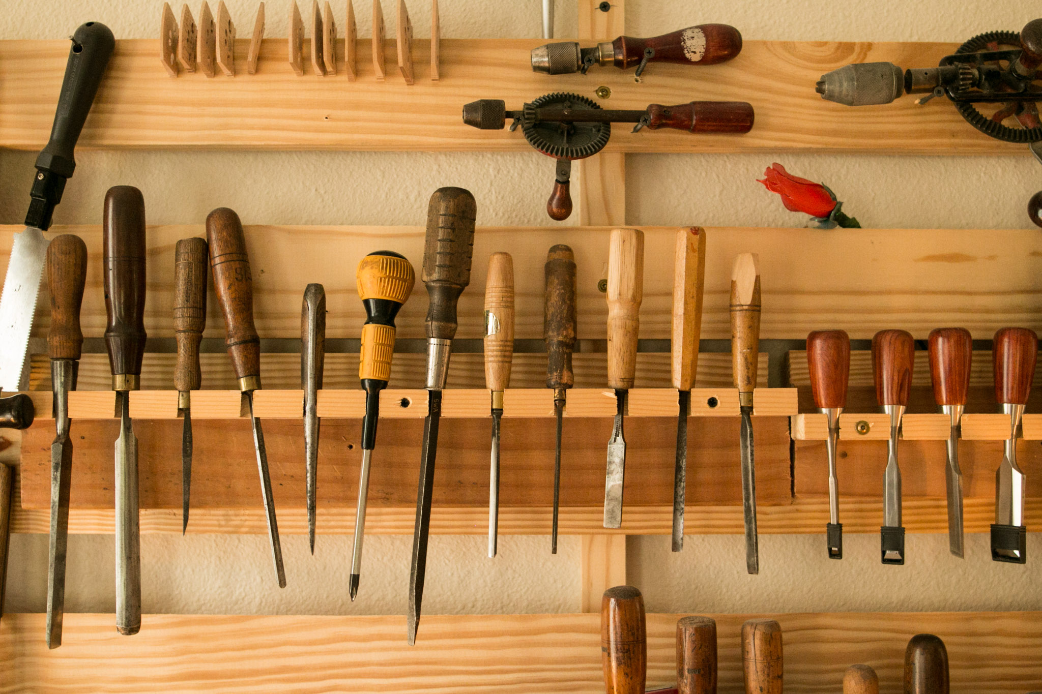 Scott Albert's violin-making tools line his workshop walls.
