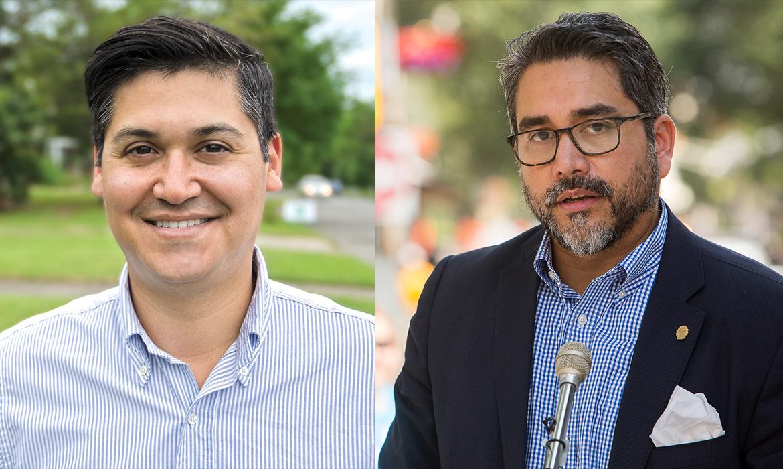 District 1 candidates Michael Montaño and Councilman Roberto Treviño (D1).