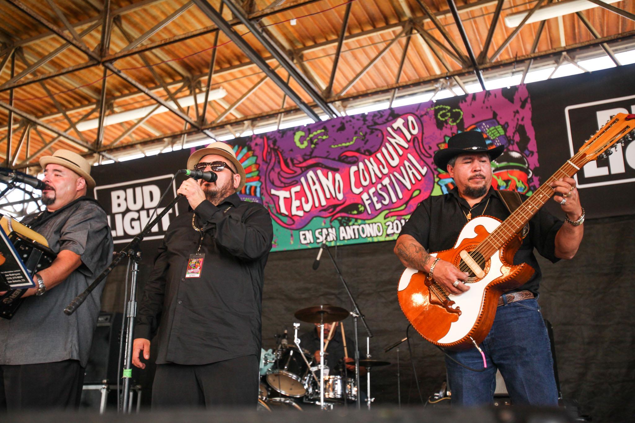 (From left to right) Flavio Longoria, Andy Saenz, and Alex Delgado play with Flavio Longoria y Los Conjunto Kings.