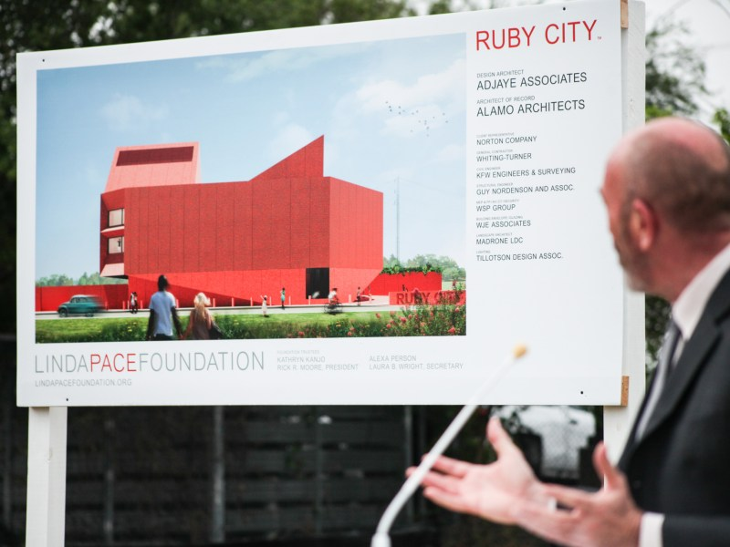 Irby Hightower of Alamo Architects explains design details at the groundbreaking of Ruby City.