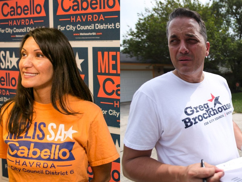 Melissa Cabello Havrda (left) and Greg Brockhouse (right) ramp up campaign efforts by going door to door.