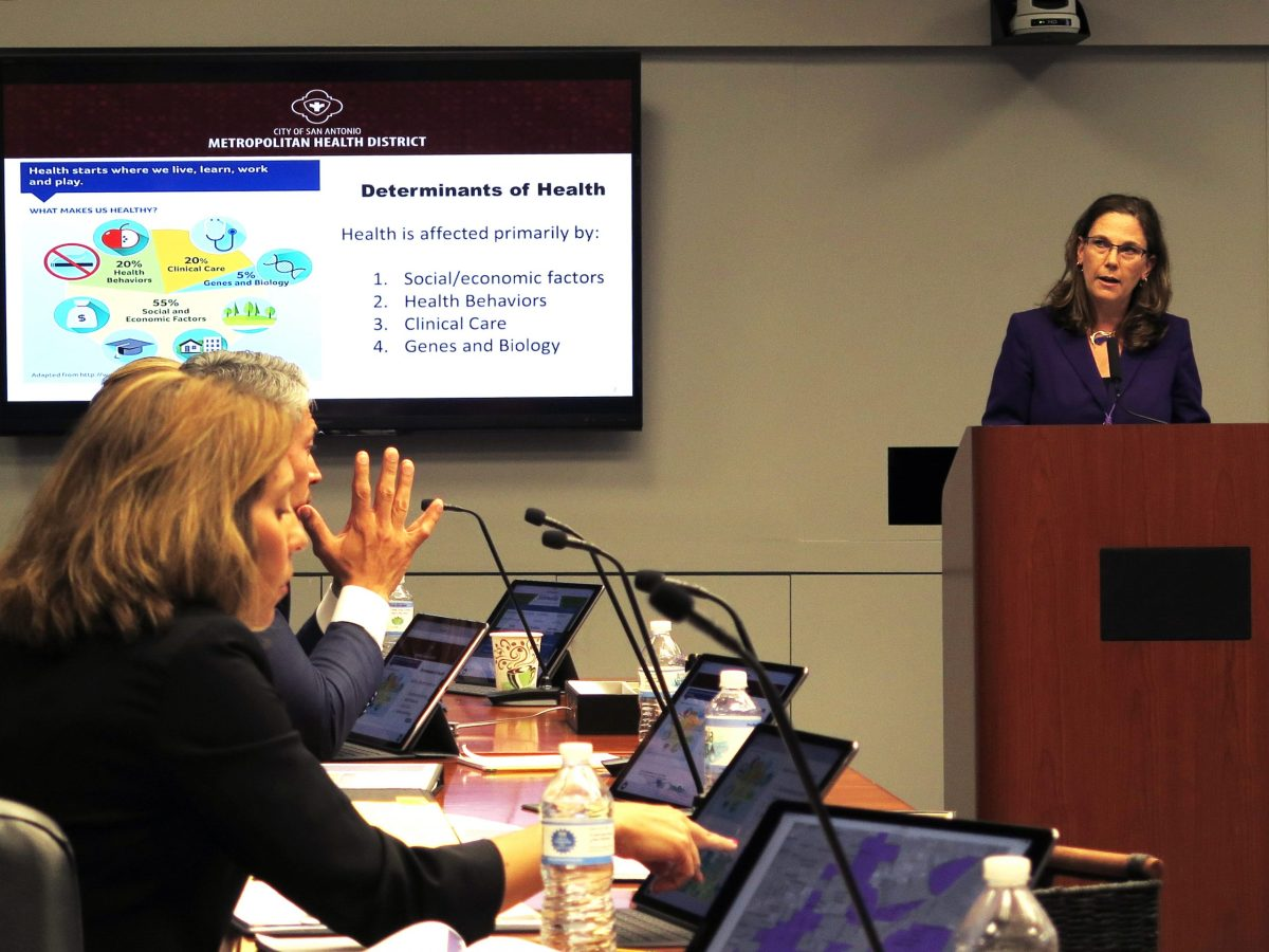 Colleen Bridger addresses City Council on the three-year strategic plan for Metro Health.